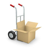 Hand truck with open box. Rendered hand truck with the box over white background Stock Photos