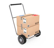 Hand Truck with Parcel Cardboard Boxes. 3d Rendering Stock Photo