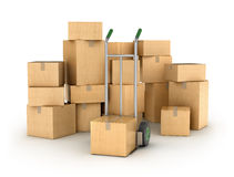 Hand truck with a Pile of cardboard boxes. Part of warehouse and logistics series Royalty Free Stock Photos