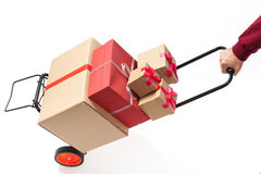 Hand Truck with Present Boxes Royalty Free Stock Images