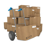Hand Truck with Several Boxes. On Background stock illustration