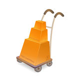 Hand truck with stack of carton boxes Royalty Free Stock Photo