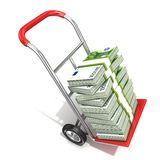Hand truck with stacks of hundreds euros. On white background. 3D render illustration Royalty Free Stock Photography