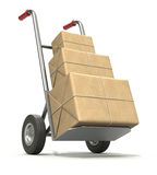 Hand truck with three post packages stock illustration