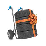 Hand Truck with Tires. And Gift Ribbon Bow stock illustration