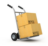 Hand truck with two cardboard boxes Stock Images