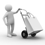 Hand truck on white background Royalty Free Stock Photography