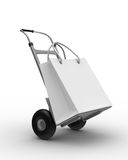 Hand truck on white background Royalty Free Stock Images