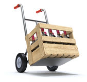 Hand truck with wine bottles. In a wooden crate - 3D illustration Royalty Free Stock Photo