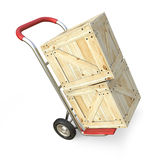 Hand truck with wooden box. Delivery concept. 3D render. Illustration  on white background Royalty Free Stock Photography