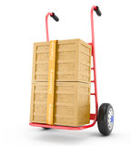 Hand truck with wooden boxes Royalty Free Stock Photos
