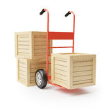 Hand truck and wooden boxes Royalty Free Stock Photos