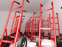 Hand Trucks. Red Hand Trucks ready for work - 3d illustration Royalty Free Stock Photos