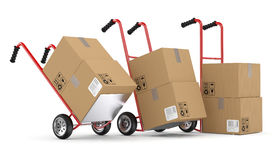 Hand trucks and carboard boxes. 3D model Stock Photography