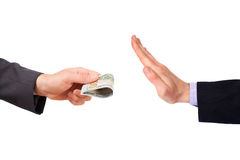Hand is trying to give money to other hand Royalty Free Stock Photos