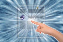 Hand tuching webpage Royalty Free Stock Image