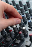 Hand Tuning Audio Mixer Stock Photos