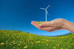 Hand with turbine Stock Photography