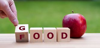 Hand is turning a dice. And changes the word `good` to `food stock photos