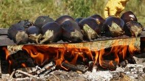 Hand turning a few baking eggplants on open fire