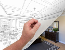 Hand Turning Page of Custom Bedroom Drawing to Photograph Undern Royalty Free Stock Photos