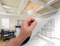 Hand Turning Page of Custom Bedroom Photograph to Drawing. Male Hand Turning Page of Custom Bedroom Photograph to Drawing Underneath Stock Photos