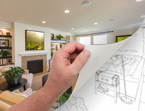Hand Turning Page of Custom Living Room Photograph to Drawing. Male Hand Turning Page of Custom Living Room Photograph to Drawing Underneath Royalty Free Stock Images