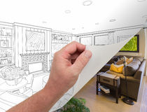 Hand Turning Page of Custom Living Room Photograph to Drawing. Male Hand Turning Page of Custom Living Room Photograph to Drawing Underneath Stock Photography