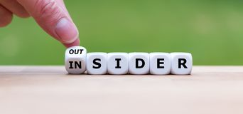 Hand turns a dice and changes the word `OUTSIDER` to `INSIDER`. Or vice versa stock images