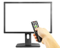 Hand and tv royalty free stock photo
