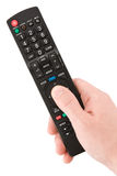 Hand with TV remote control Stock Images