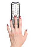 Hand and tv remote control Stock Photo