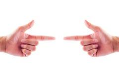 Hand twee met het richten van vinger die iets tonen geïsoleerd op whit royalty-vrije stock afbeelding