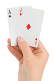 Hand with two aces Royalty Free Stock Photography