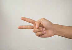 Hand with two fingers, Isolated. Background Stock Photo