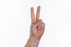 Hand, two fingers. Hand with two fingers pointing up Stock Photography