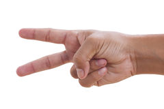 Hand with two fingers up Royalty Free Stock Photo