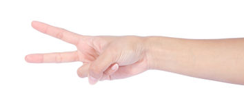 Hand with two fingers up in the peace Royalty Free Stock Photography
