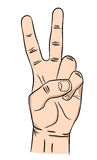 Hand with two fingers up.Peace, Victory Sign. Royalty Free Stock Image