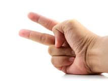 Hand with two fingers up in the peace or victory symbol. Also th Stock Image