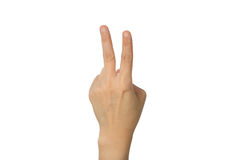 Hand with two fingers up Stock Photos