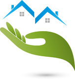 Hand and two houses, roofs, real estate and house care logo Royalty Free Stock Photos