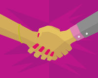 Hand of two women who shake hands. Hands of two women shaking hands, right hand wearing a suit and left wearing a bracelet Royalty Free Stock Images