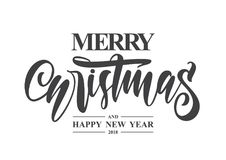 Free Hand Type Lettering Of Merry Christmas And Happy New Year On White Background Royalty Free Stock Photography - 109016417