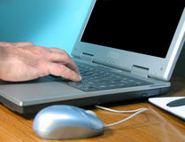 Hand typing. Office desk with hands typing on a computer.You can put what do you need on the screen Royalty Free Stock Photography