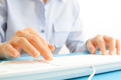 Hand typing on computer keyboard Royalty Free Stock Images