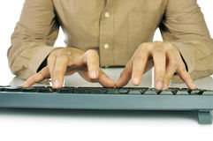Hand Typing Keyboard Stock Image