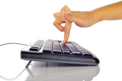 Hand Typing Keyboard Royalty Free Stock Photography
