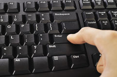Hand Typing Keyboard Stock Photography