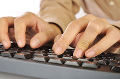 Hand Typing Keyboard Royalty Free Stock Photos